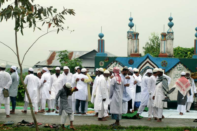 Muslims greet each other after reading their Namaj at a mosque, on the occasion of Bakra-Eid, in Itahari, on Tuesday, September 13, 2016. Photo: RSS