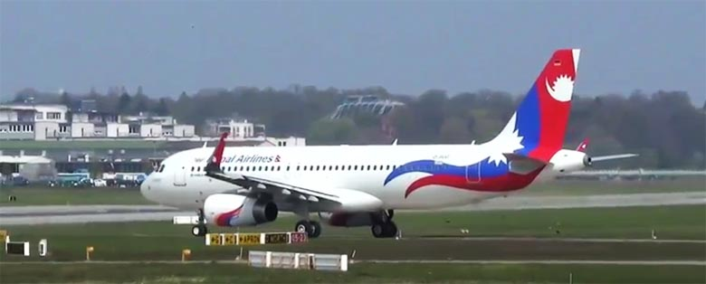 This video grab shows Nepal Airlines Corporation Airbus A320 9N-AKX. Youtube/walkbyfeet