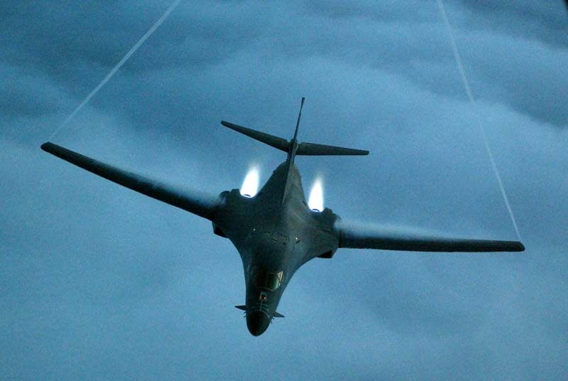 File- A B-1B Lancer from the US Air Force 28th Air Expeditionary Wing heads out on a combat mission in support of strikes on Afghanistan in this picture released December 7, 2001. Photo: Reuters