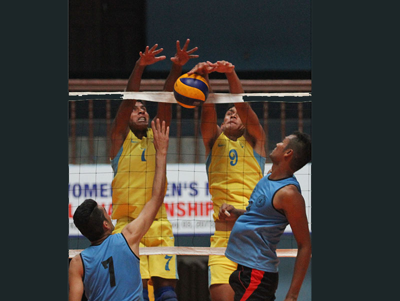 Players of APF and Budhanilkantha (front) in action during their NVA National Womenu2019s and Menu2019s Club Volleyball Championship match in Kathmandu on Thursday, September 15, 2016. Photo: Udipt Singh Chhetry/THT