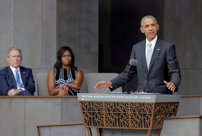US President Barack Obama speaks during the dedication of the Smithsonian's National Museum of African American History and Culture in Washington, US, on September 24, 2016. Photo: Reuters