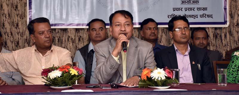 National Sports Council Member Secretary Keshab Kumar Bista speaks during a press meet in Kathmandu on Wednesday, September 7, 2016. Photo: THT