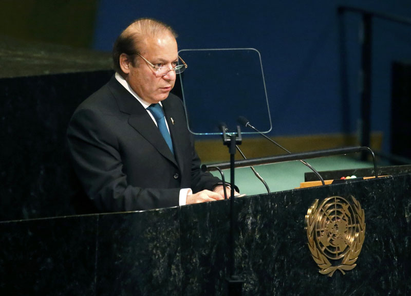Prime Minister Nawaz Sharif of Pakistan addresses the United Nations General Assembly in the Manhattan borough of New York, US, on September 21, 2016. Photo: Reuters
