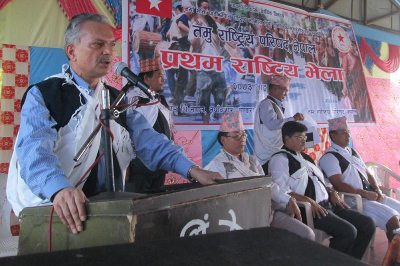 Naya Shakti Nepal Coordinator Baburam Bhattarai addresses a function in Pokhara of Kaski, on Saturday, September 10, 2016. Photo: Rishi Ram Baral