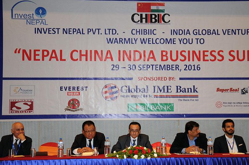 Participants of Nepal, China, India Business Summit, in Kathmandu, on Thursday, September 29, 2016. Photo: Balkrishna Thapa Chhetri/THT