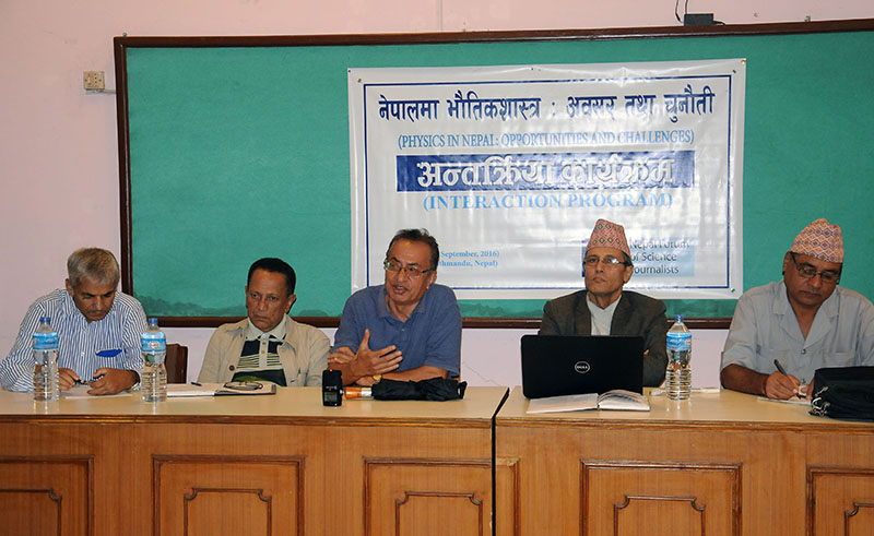 Experts speaking at a programme organised by Nepal Forum of Science Journalists, in Kathmandu, on Saturday, September 10, 2016. Photo: Balkrishna Thapa Chhetri/THT