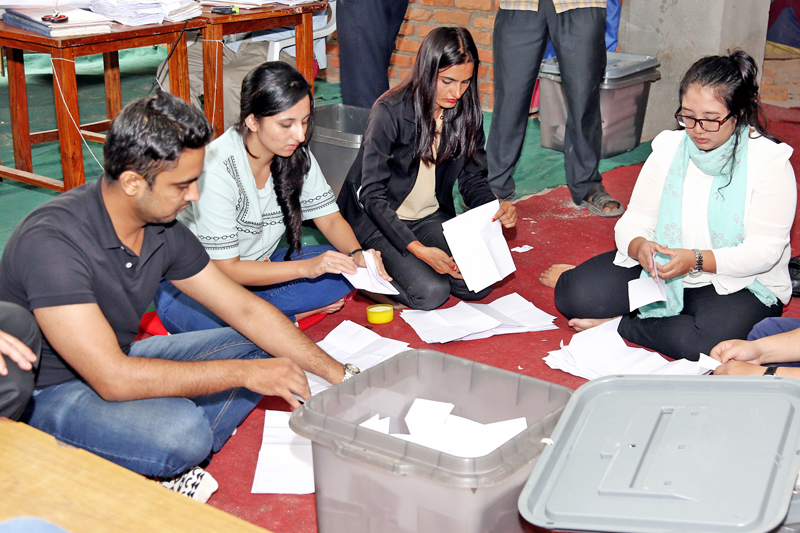 Votes of the election held to elect a new executive committee of the Nepal Medical Association are being counted in Kathmandu, on Sunday, September 11, 2016. Photo: RSS