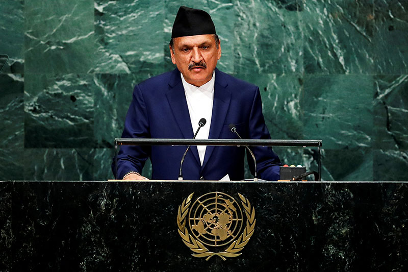 FILE- Nepal's Foreign Minister Prakash Sharan Mahat addresses the 71st session of the United Nations General Assembly at UN headquarters, on Saturday, September 24, 2016. Photo: Reuters