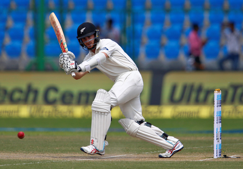New Zealand's Kane Williamson plays a shot against India during first test match at Kanpur's Green Park Stadium, on Friday, September 23, 2016. Photo: Reuters
