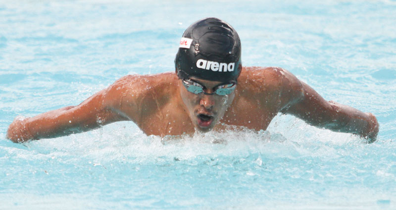 Anubhav Subba of Dav swims during the men's 100 butterfly event of the sixth NSA Cup Open and Age-group Swimming Championship. Photo: THT