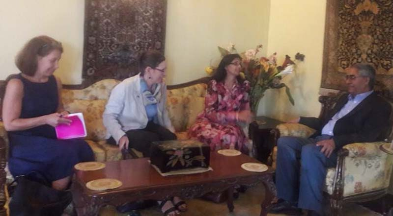 United States Assistant Secretary of State for South and Central Asia, Nisha Biswal (2nd from right), calls on Nepali Congress President Sher Bahadur Deuba, at the latter's residence in Kathmandu, on Monday, September 5, 2016. Photo: Sher Bahadur Deuba/Twitter