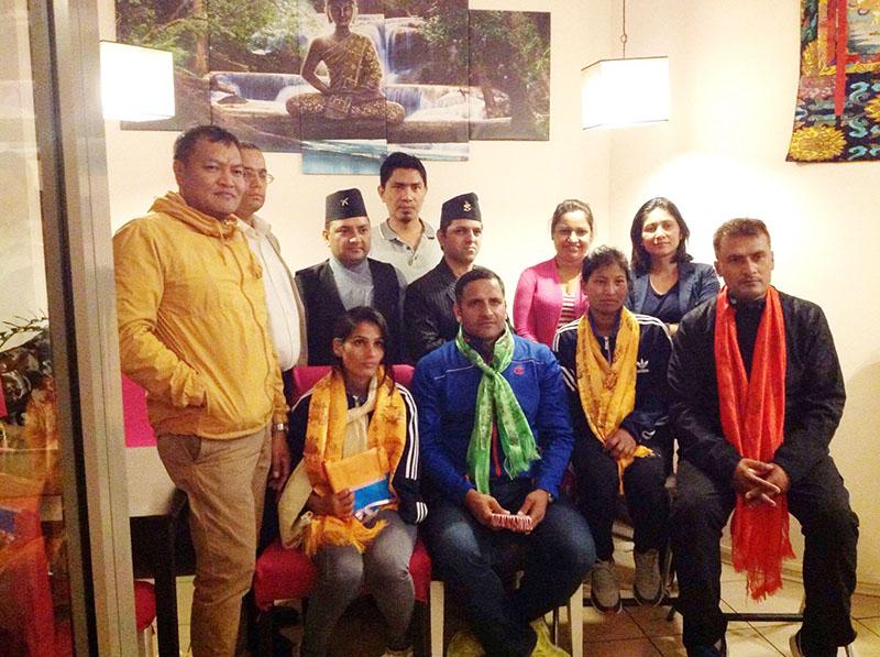 Non-Resident Nepali Association-Poland felicitate the European Open Para-Taekwondo Tournament medallist Sita Bhandari along with the Nepali squad members in Warsaw on Sunday, September 18, 2016. Photo: THT