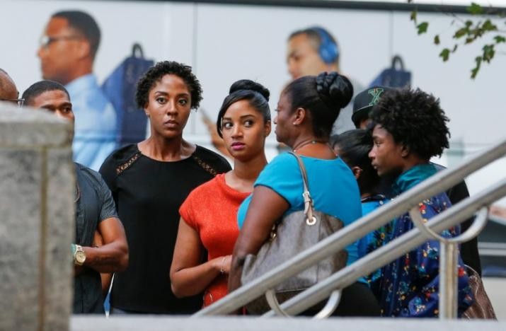 Family members of Keith Scott assemble near a press conference, held after protests against the police shooting of Scott, in Charlotte, North Carolina, U.S. September 22, 2016. REUTERS/Jason Miczek