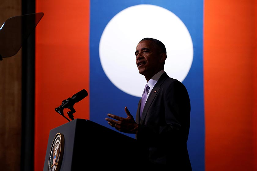 US President Barack Obama delivers an address at the Lao National Cultural Hall, on the sidelines of the ASEAN Summit, in Vientiane, Laos on Tuesday, September 6, 2016. Photo: Reuters