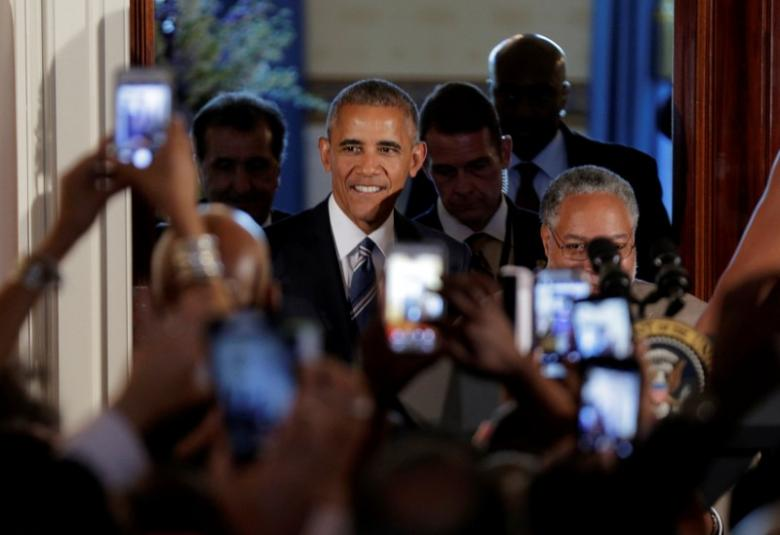 U.S. President Barack Obama arrives for a reception marking the opening of the Smithsonianu2019s National Museum of African American History and Culture at the White House in Washington, U.S., September 23, 2016.      REUTERS/Joshua Roberts