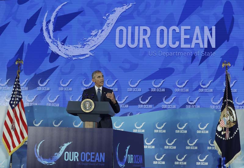 President Barack Obama speaks at the Our Ocean, One Future conference at the State Department in Washington, on Thursday, September 15, 2016. Photo: AP
