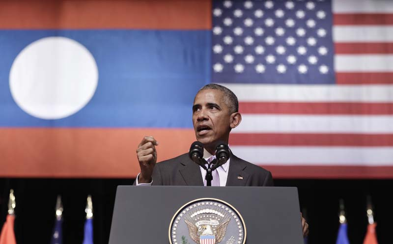 US President Barack Obama speaks at the Lao National Cultural Hall in Vientiane, Laos, on Tuesday, September 6, 2016. Photo: AP
