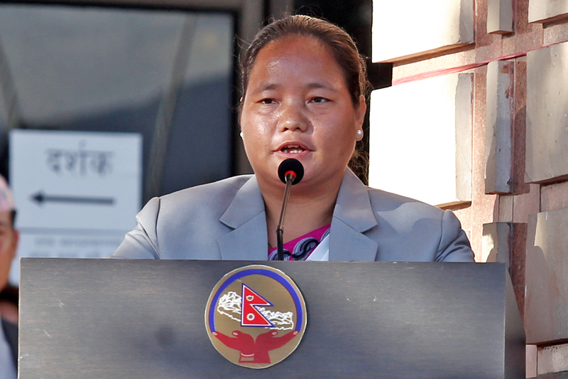 FILE: Speaker Onsari Gharti Magar addressing a special programme organised to mark the 1st anniversary of promulgation of Nepal's Constitution, in Kathmandu, on Sunday, September 18, 2016. Photo: RSS
