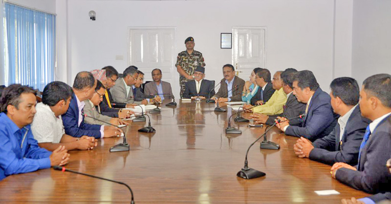 PM Pushpa Kamal Dahal meets foreign affairs experts, businesspersons and industralists prior to his India visit, in Kathmandu, on Wednesday, September 7, 2016. Courtesy: PM's Secretariat