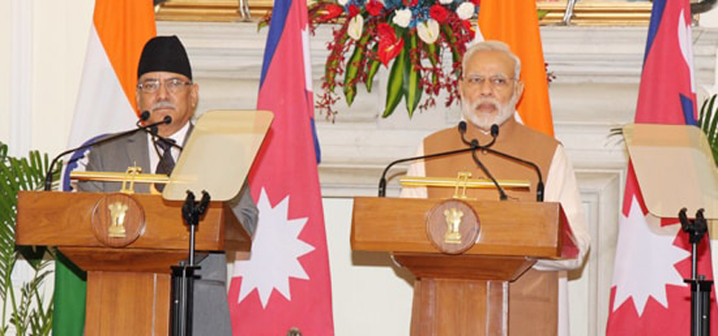 Prime Minister Pushpa Kamal Dahal (left) and Indian Prime Minister Narendra Modi address a joint conference organised at the Hyderabad House in New Delhi, India on Friday, 16 September 2016. Photo: MEA India