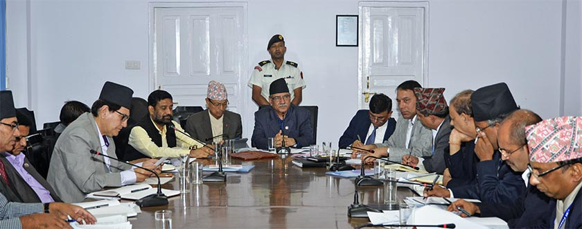 FILE: PM Dahal speaking at the Nepal Reconstruction Authority (NRA)'s meeting. Photo:  PM's Secretariat