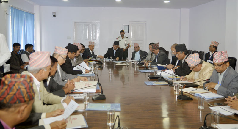 Prime Minister Pushpa Kamal Dahal chairs the National Reconstruction Authority (NRA) Steering Committee meeting held at Singha Durbar in Kathmandu, on Sunday, September 25, 2016. Photo: PM's Secretariat