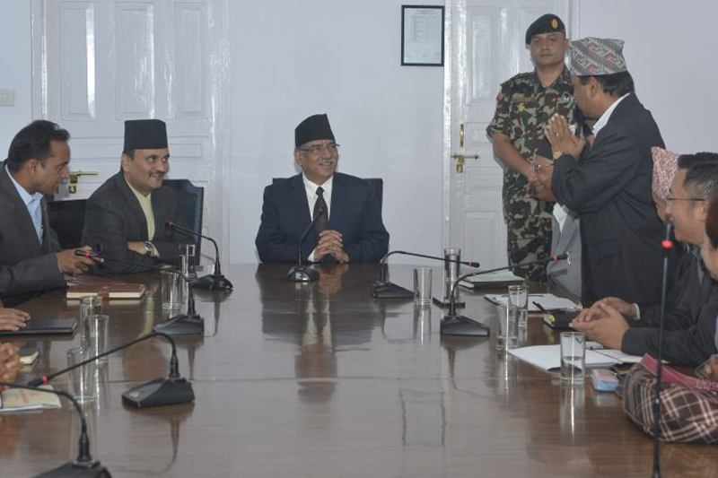 Prime Minister Pushpa Kamal Dahal holds a meeting with office bearers of the Commission of Investigation on Enforced Disappeared Persons (CIEDP), in Kathmandu, on Thursday, September 1, 2016. Photo: PM's Secretariat