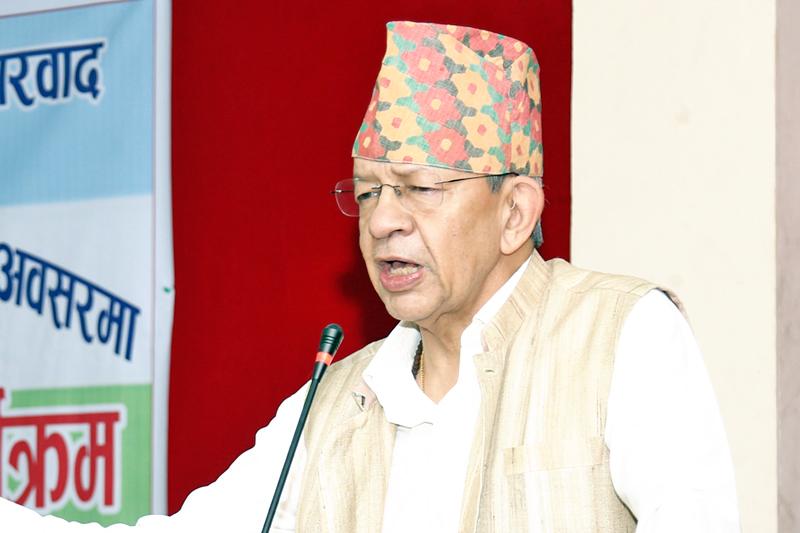 FILE: Rastriya Prajatantra Party Chairman Pashupati Shamsher Jung Bahadur Rana speaking at a programme in kathmandu, on Wednesday, September 28, 2016. Photo: RSS
