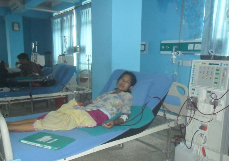 Binita Oli, who originally hails from a remote village in Rolpa distirct, is seen receiving dialysis service at the Human Organ Transplant Centre, Bhaktapur, on Wednesday, September 7, 2016. Photo: RSS
