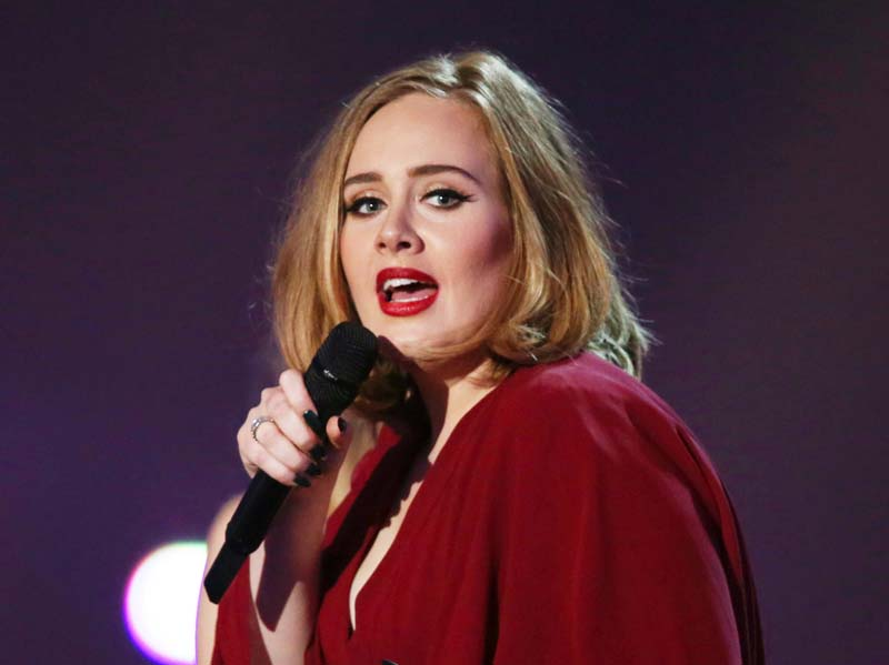 File- Adele onstage at the Brit Awards 2016 at the 02 Arena in London, on February 24, 2016. Photo: AP
