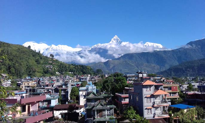 The Mount Machhapuchhre, also known as Mount Fishtail, is seen from the premises of Bindyabasini Temple, a popular tourist destination in Pokhara of Kaski district, on Monday, September 26, 2016. Photo: RSS