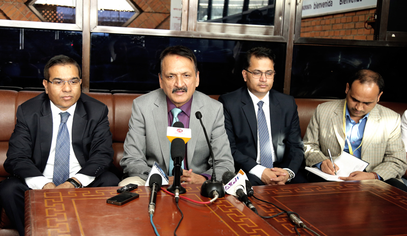 Minister for Foreign Affairs Prakash Sharan Mahat talks to media persons before leaving for New Delhi, at the Tribhuvan International Airport, in Kathmandu, on Sunday, September 11, 2016. Photo: RSS