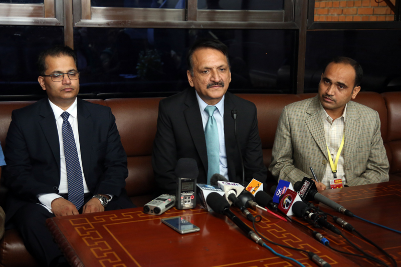 Minister for Foreign Affairs Prakash Sharan Mahat speaks with journalists at the Tribhuvan International Airport in the Capital on Tuesday, September 13, 2016. Photo: RSS