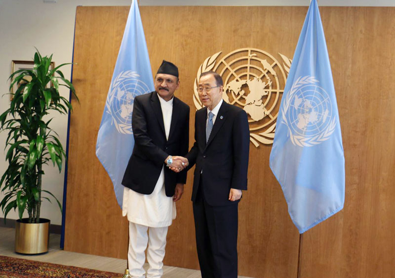 Minister for Foreign Affairs Dr Prakash Sharan Mahat, who is in the United States to participate at the 71st United Nations' General Assembly, meets UN Secretary-General Ban Ki-moon in New York, US, on Friday, September 23, 2016. Photo: RSS