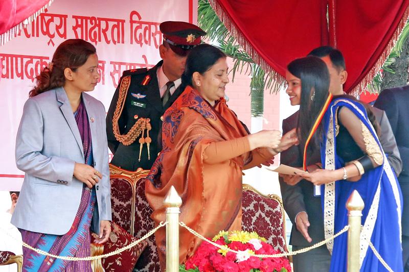 President Bidya Devi Bhandari honours outstanding student, on the occasion of National Education Day 2073, at Sheetal Niwas, in Kathmandu, on Thursday, September 8, 2016. Photo: RSS