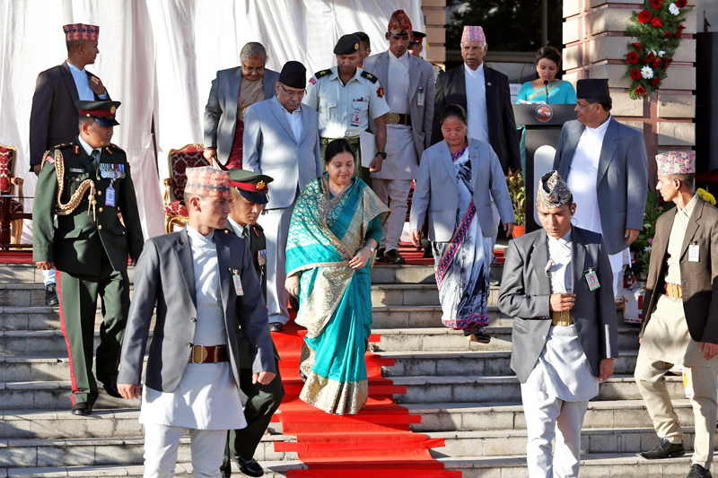 President Bidya Devi Bhandari - accompanied by PM Pushpa Kamal Dahal, Chief Justice Sushila Karki and Speaker Onsari Gharti Magar - attends a special programme organised on the occasion of the 1st anniversary of promulgation of Nepal's Constitution, in Kathmandu, on Sunday, September 18, 2016. Photo: RSS