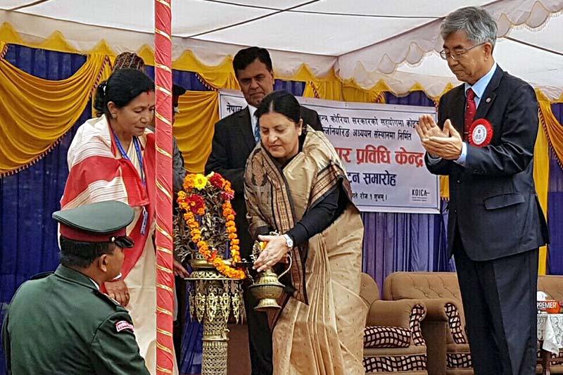 President Bidya Devi Bhandari inaugurates the Information and Communication Technology (ICT) Centre at the Institute of Engineering (IOE), in Phulchok, on Sunday, September 25, 2016. Photo Courtesy: KOICA Nepal