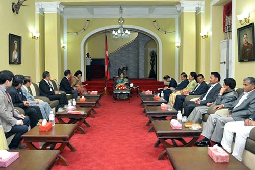 President Bidya Devi Bhandari sits in a meeting with the Japanese delegates, at the Sheetal Niwas, on Monday, September 26, 2016. Photo: President's Office