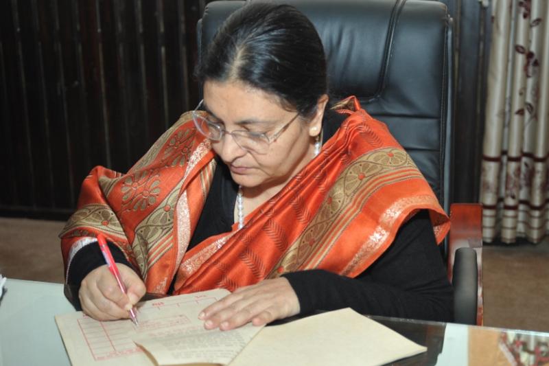 President Bidya Devi Bhandari certifies four bills endorsed by the Parliament, in Kathmandu, on Monday, September 12, 2016. Photo: President's Office