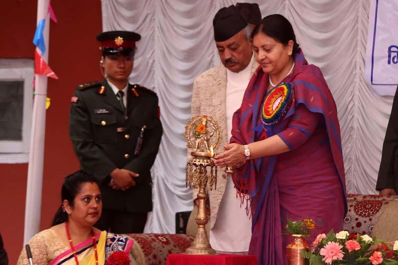 President Bidya Devi Bhandari inaugurates the silver jubilee function of Baneshwor Multiple Campus, in Baneshwor of Kathmandu, on Sunday, September 11, 2016. Photo: RSS