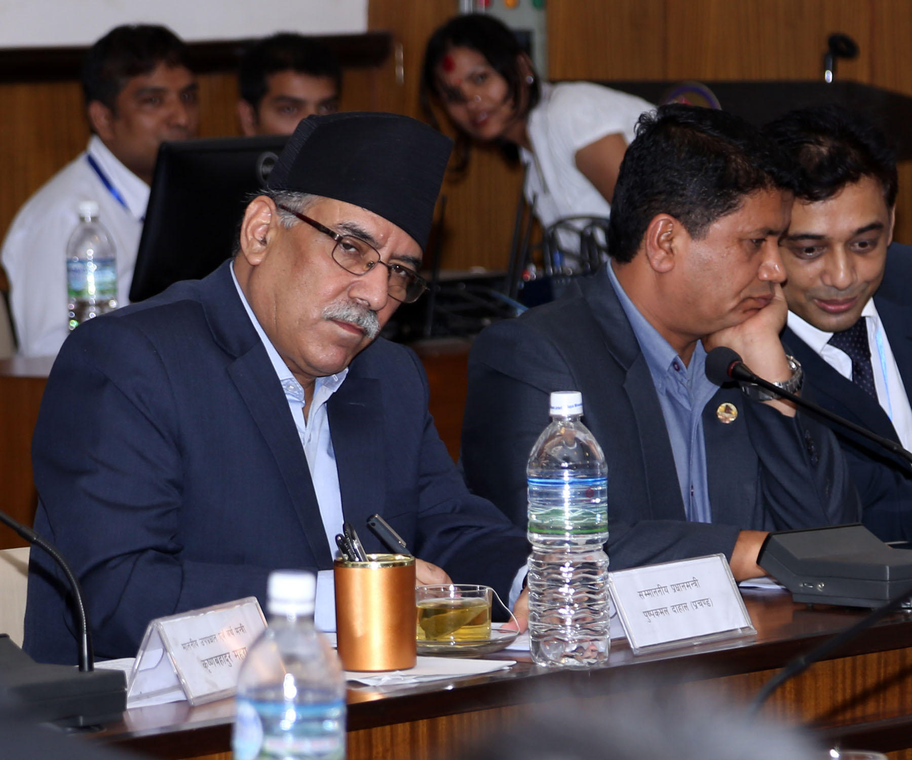 Prime Minister Pushpa Kamal Dahal and Chairperson of Development Committee Rabindra Adhikari at the meeting of Development Committee under the Legislature Parliament held in Singha Durbar, on Monday, September 5, 2016. Photo: RSS