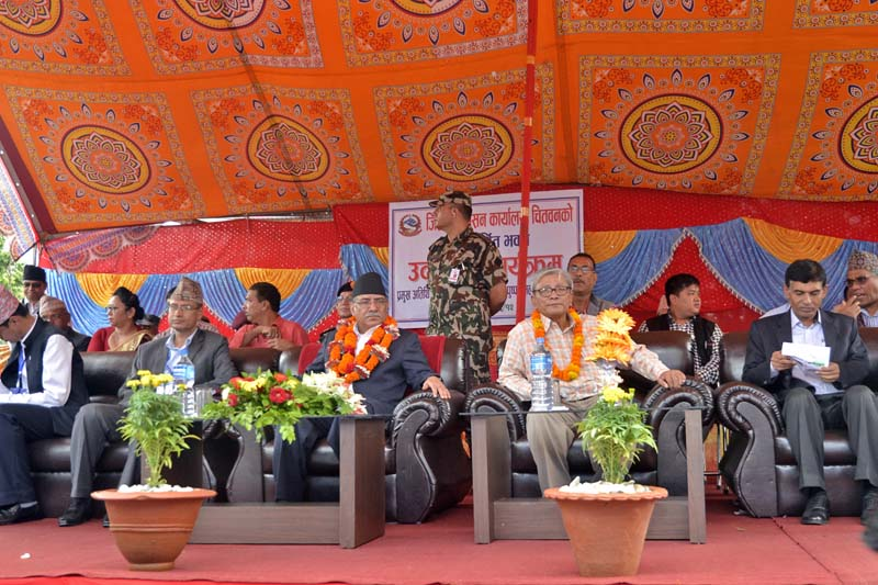 Prime Minister Pushpa Kamal Dahal attends the inauguration programme of the Bharatpur-based District Administration Office, in Chitwan, on Wednesday, September 28, 2016. Photo Courtesy: PM's Secretariat