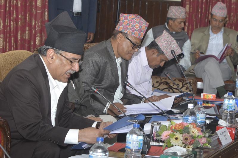 Prime Minister Pushpa Kamal Dahal (left) attends a meeting of the Nepal Sanskrit University, in Kathmandu, on Thursday, September 8, 2016. Photo: PM's Secretariat