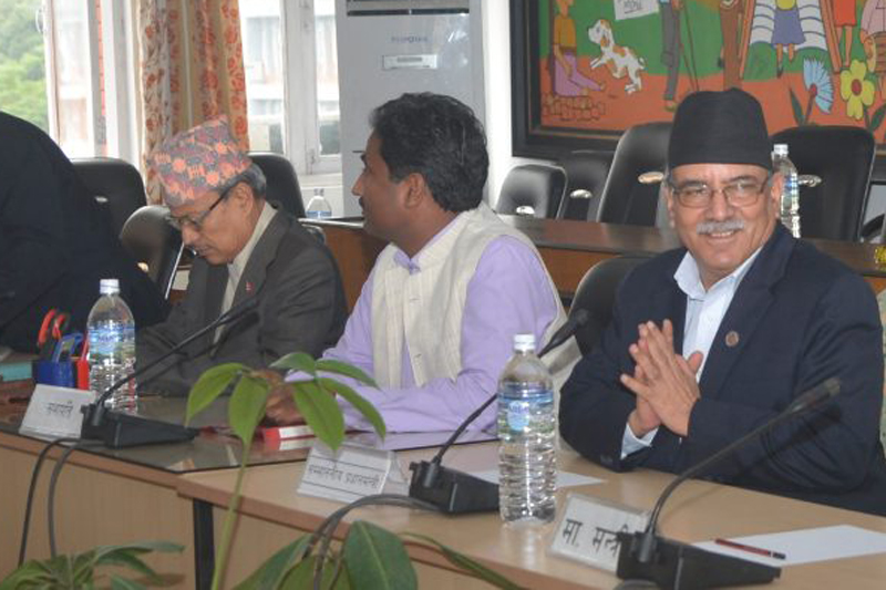 Prime Minister Pushpa Kamal Dahal attends a meeting of the International Relations and Labour Committee of the Parliament on Sunday, September 11, 2016. Photo: PM's Secretariat
