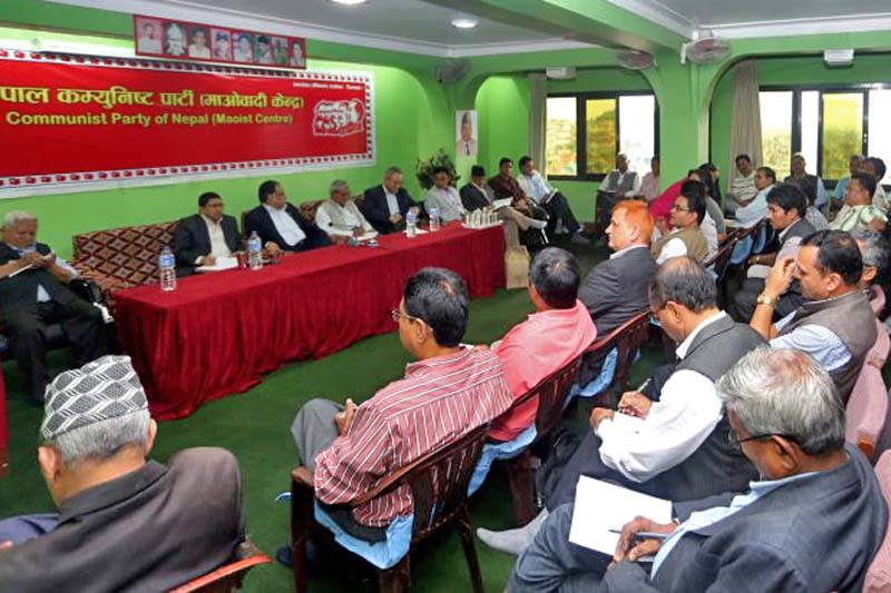 Prime Minister Pushpa Kamal Dahal chairs the CPN Maoist Centre's Secretariat meeting to announce the date for the party's National Assembly, in Paris Danda, on Monday, September 26, 2016. Photo Courtesy: PM'S Secretariat