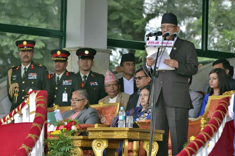 Prime Minister Pushpa Kamal Dahal addresses a special programme organised on the occasion of Constitution Day at the Army Pavilion in Tundikhel, on Monday, September 19, 2016. Photo Courtesy: PM's Secretariat