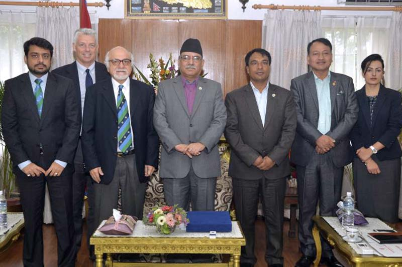 Prime Minister Pushpa Kamal Dahal (centre) with the three-member delegation of the International Cricket Council (ICC) and Minister for Youth and Sports Daljit Shripaili among others, at his official residence, in Baluwatar, on Sunday, September 4, 2016. Photo Courtesy: PM's Secretariat