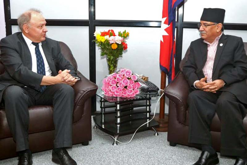 Prime Minister Pushpa Kamal Dahal in a meeting with Norwegian Ambassador to Nepal Kjell Tormod Pettersen at the Office of the Prime Minister and Council of Ministers at Singhadurbar, on Thursday, September 22, 2016. Photo Courtesy: PM's Secretariat