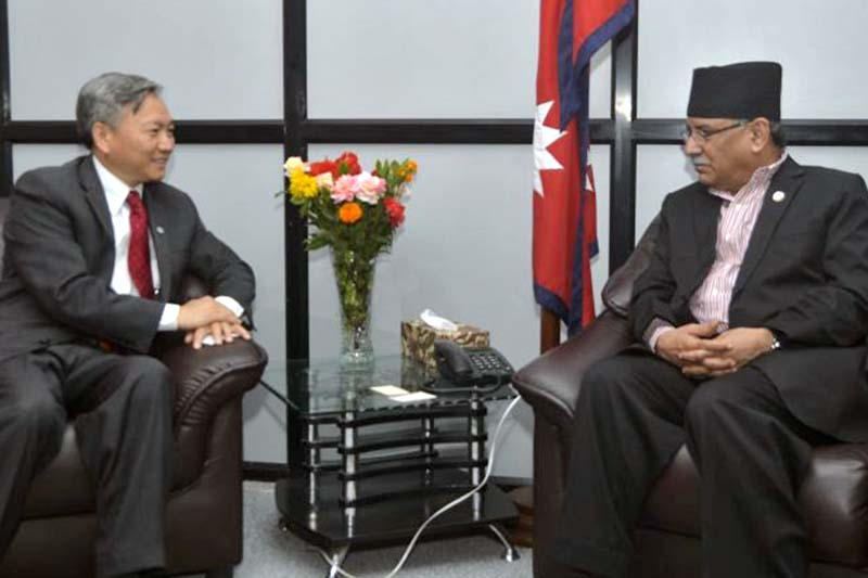 Prime Minister Pushpa Kamal Dahal in a meeting with World Bank's Country Director for Bangladesh, Bhutan and Nepal Qimiao Fan at the Office of the Prime Minister and Council of Ministers at Singhadurbar, on Thursday, September 22, 2016. Photo Courtesy: PMu2019s Secretariat