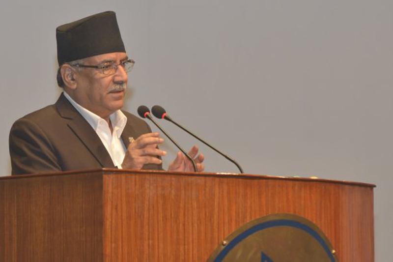 Prime Minister Pushpa Kamal Dahal addresses the Parliament, in Kathmandu, on Thursday, September 8, 2016. Photo: PM's Secretariat